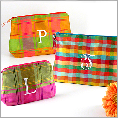 Personalized plaid silk cosmetic bags by Objects of Desire
