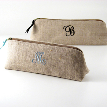 personalized linen cosmetic brush bag by Objects of Desire