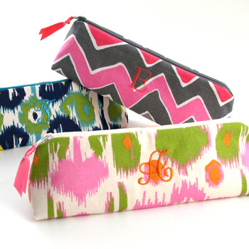 Personalized Printed Cotton Cosmetic Brush Case by Objects of Desire