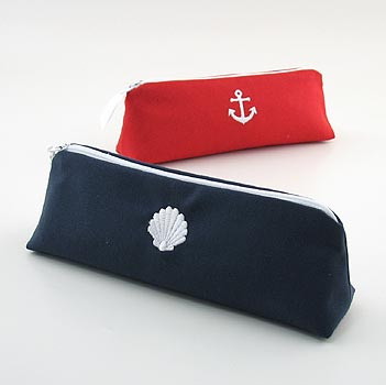 nautical cosmetic brush bag with embroidered icon by Objects of Desire