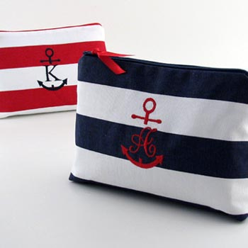 Personalized Anchor Initial Cosmetic Bags by Objects of Desire
