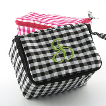 Personalized silk gingham jewelry case by Objects of Desire
