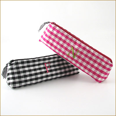 personalized silk gingham cosmetic brush bag by Objects of Desire