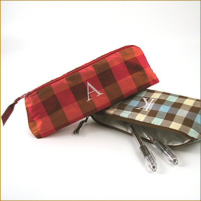 personalized plaid silk cosmetic brush bag by Objects of Desire