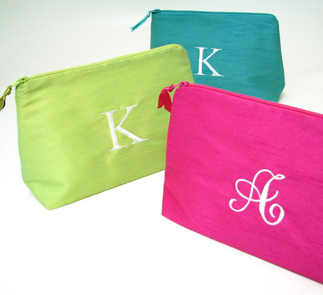 personalized polyester dupioni bags, monogrammed makeup cases