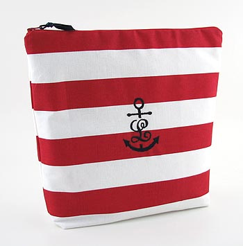 personalized nautical lingerie bag has an initial anchor monogram