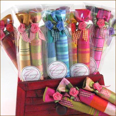 plaid silk French lavender stick sachets