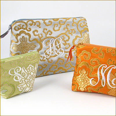 personalized brocade cosmetic bag - size large